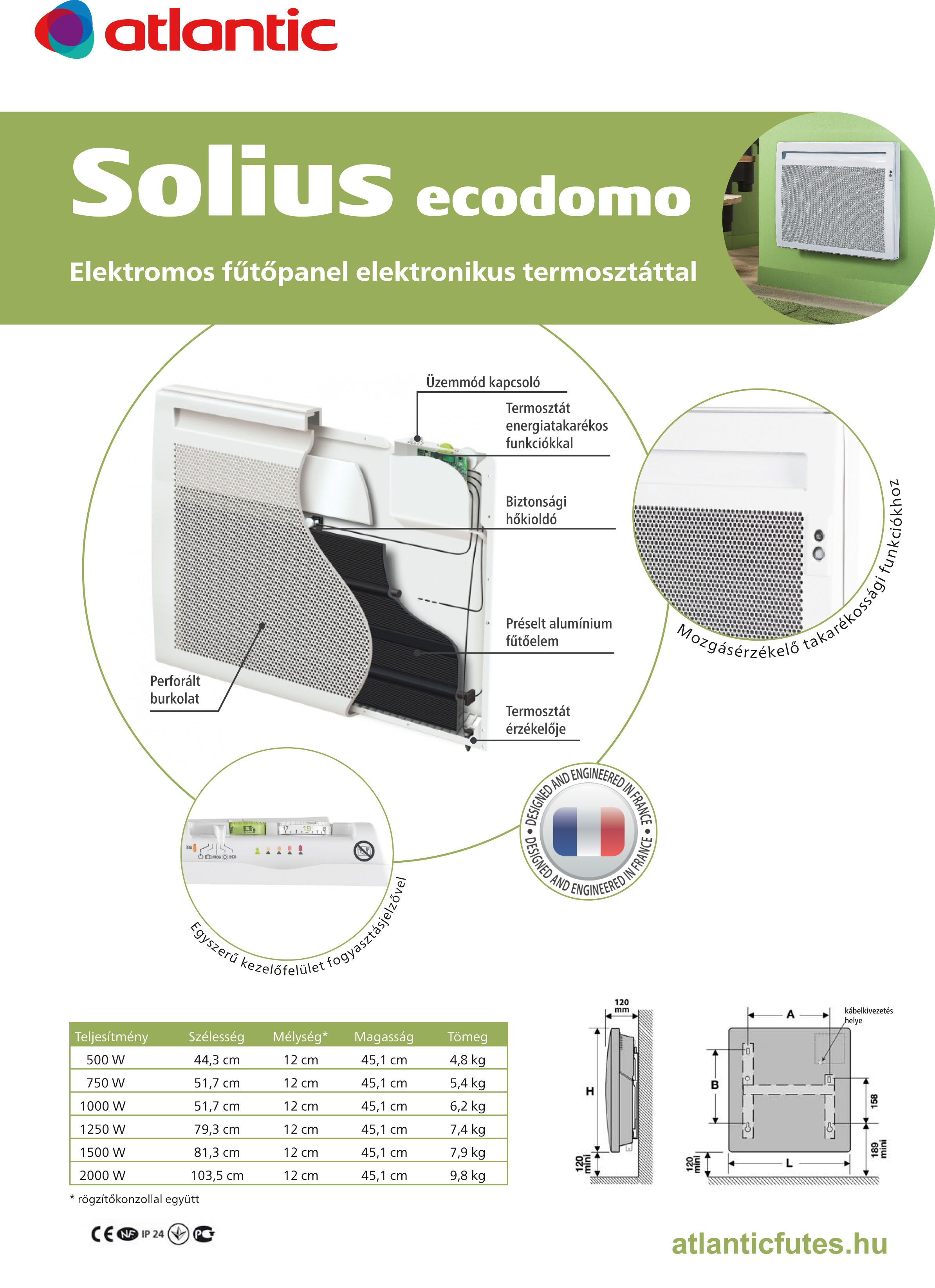 Atlantic Solius 750w Affordable Atlantic Panneau Rayonnant Vertical